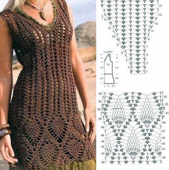 Vestido Crochet Calado Manga Corta Grafico Canal Crochet