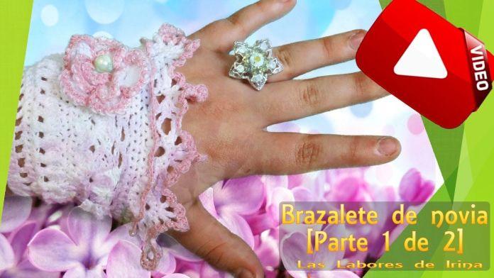 Brazalete de novia tejido a crochet