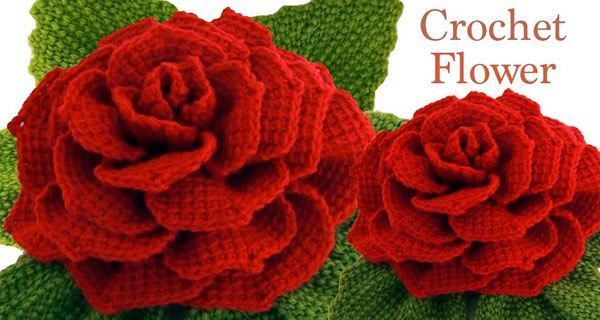 Rosas gigantes 3D con hojas a Crochet