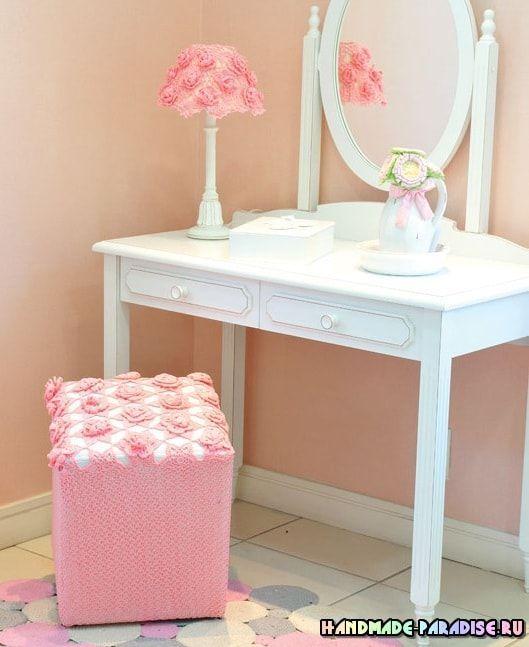 Tapizado de lampara y taburete con rosas crochet