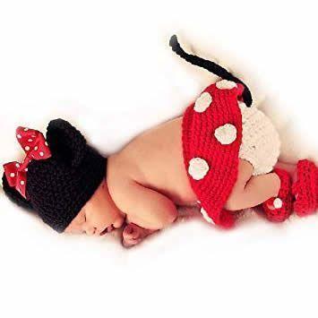 Disfraz Minnie Mouse tejido a crochet para bebe