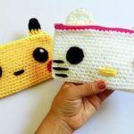 Estuche de Pikachu y Hello Kitty tejido a crochet