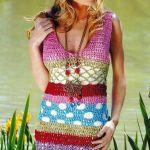 Solera colorida a crochet patrón y gráficos