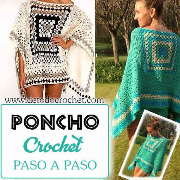 Poncho tejido a crochet con patrón