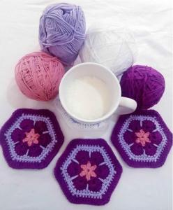 Posavasos Flor Africana en crochet