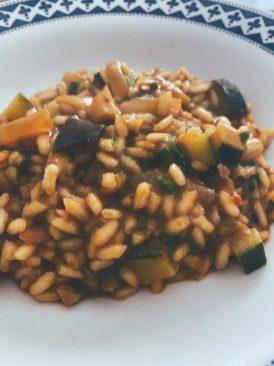 Arroz meloso de verduras y setas