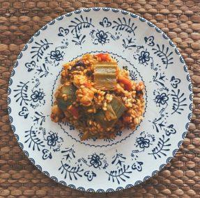 El arroz con cosas de la huerta y el mar