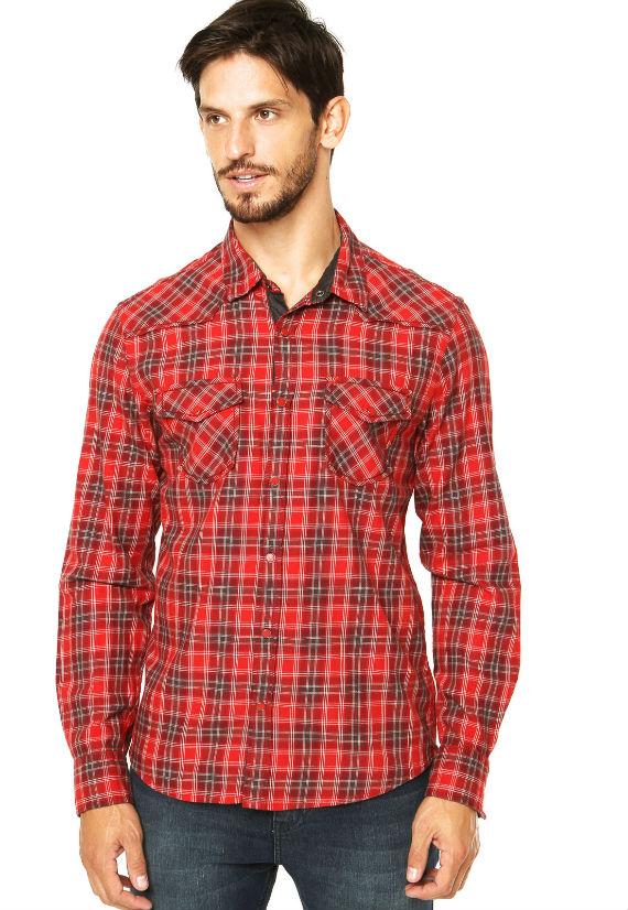 Camisa-Guess-Xadrez-vermelha