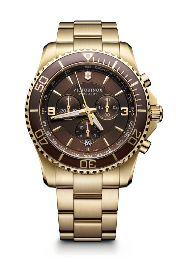 Victorinox-Maverick-Mostrador-marrom-com-caixa-e-bracelete-de-PVD-dourado