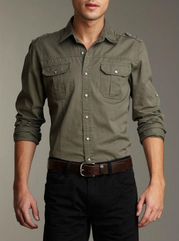 moda-masculina-militar-camisa