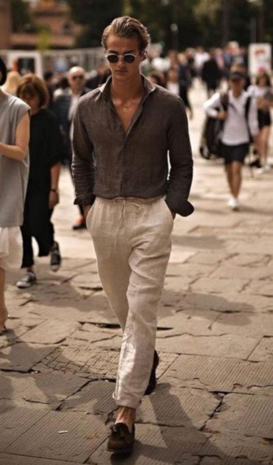 Linho no verão - combinação com duas peças, camisa e calça de linho