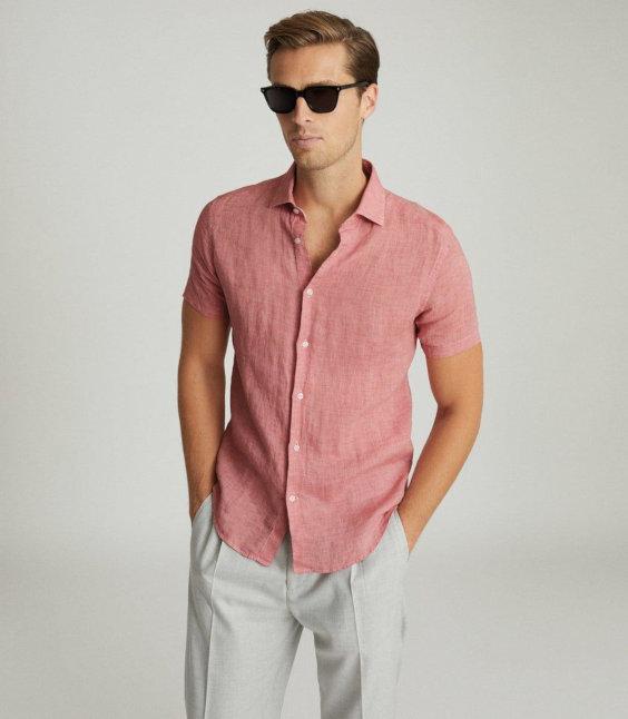 Camisa rosa de linho