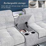 DNNAL Canapé en Tissu Grand canapé d'angle Moderne, Fauteuil de détente Extra-Large. Tabouret rembourré et Porte-gobelets Lounge Storage