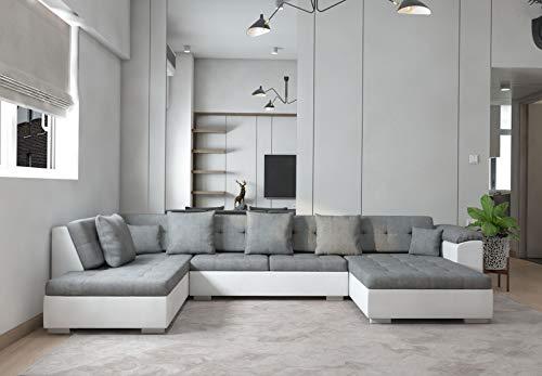 tendencio Grand Canapé d'angle panoramique Atrium Moderne et Design en Tissu et Simili Cuir Gris et Blanc Angle Gauche