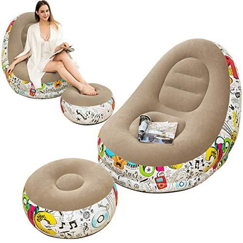 LONEEDY Canapé gonflable paresseux avec coussin de pieds gonflable, motif graffiti flocage extérieur, convient pour le repos à la maison ou le bureau (gris)