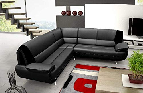 Canapé d'angle jenna xxl – reversible – Réversible – noir