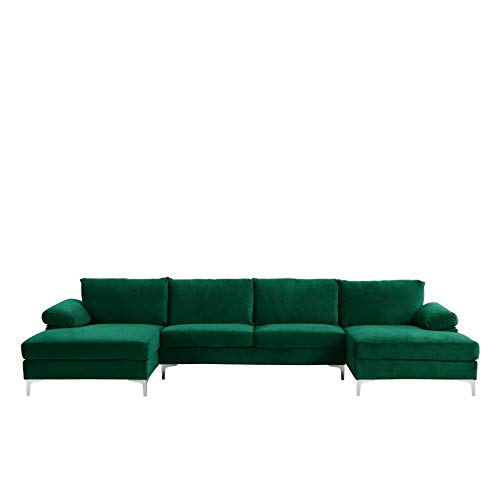 BHDesign Amanda XL New – Canapé d'angle PANORAMIQUE Xtra Large – Moderne – Velours – Coloris Vert