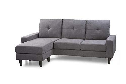 Home Heavenly® Canapé Chaiselonge Brooklyn, canapé d'angle 3 places réversible, chaiselongue réversible droite ou gauche, de couleur gris marengo et pieds noirs. Home Heavenly