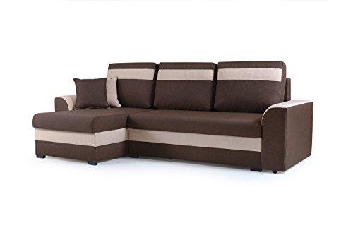 Petit canapé d'angle Convertibles 3 Place Tissu ZENO (Marron, Canapé d'angle Gauche)