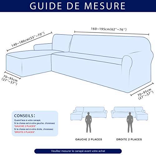 subrtex Housse de Canapé d'angle avec Accoudoirs Housse de Canapé Modèle L Canapé Protecteur Extensible (Gauche 2 Places, Chocolat)