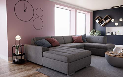 tendencio RODO – Canapé d'angle en U panoramique – 7 Places – Tissu Gris (Angle Droit)