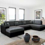 Bestmobilier – Ohio – Canapé d'angle panoramique – XXL 7 Places – Style Contemporain – Droit