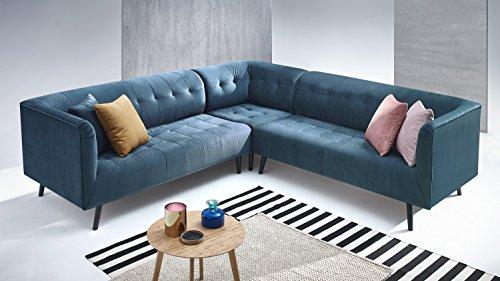 BOBOCHIC PARIS Canapé d'Angle Panoramique 4 places Fixe avec coussins Bleu Canard, 262 x 262 x 85 cm