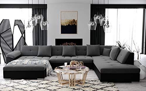 ATIS – Grand canapé d'angle panoramique en U – en Tissu – Angle Droit (Gris et Noir)