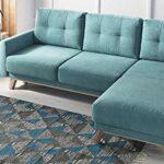 Bobochic – BALIO – Canapé d'angle en Tissu Convertible avec Coffre 4 Places – Droit Couleur – Bleu Turquoise