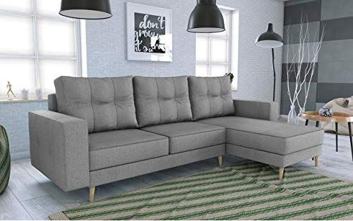 tendencio Canapé d'angle Convertible HOLIA Style scandinave (Gris Clair)