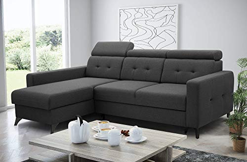 Bestmobilier – Nolan – Canapé d'angle Convertible – avec Coffre – têtières réglables – 4 Places – Gauche