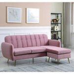 Habitat & Jardin – Canapé d'angle réversible en Velours Leonard – 202 x 80/138 x 92 cm – 3 Places – Rose