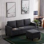 Bonnlo Canapé d'angle, 3 places, petit canapé d'angle en forme de L, chaise longue avec repose-pieds réversible, canapé de jeu modulaire en forme de L pour salon, salle de réception, gris foncé