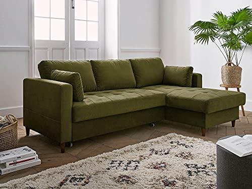 Lisa Design – Anna – canapé d'angle Convertible – avec Coffre – 4 Places – Style Contemporain – Droit