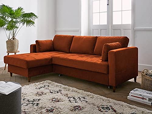 Lisa Design – Anna – canapé d'angle Convertible – avec Coffre – 4 Places – Style Contemporain – Gauche