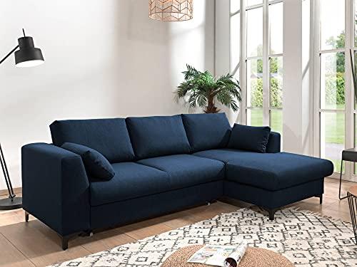 Lisa Design – Tala – canapé d'angle Convertible – avec Coffre – 4 Places – Style Contemporain – Droit