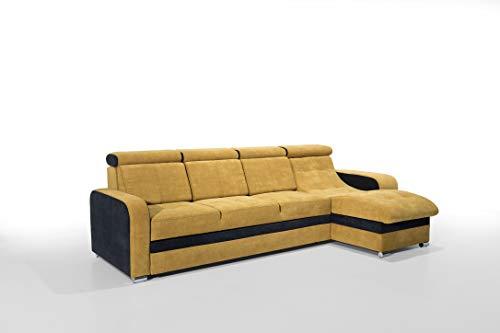Robin Bristol Canapé d'angle avec Une Fonction de Couchage, Un Canapé-lit avec Une Caisse pour la Literie et Deux Tabourets de Bar, Un Canapé d'angle en L Indépendant, Reversible Droit ou Gauche