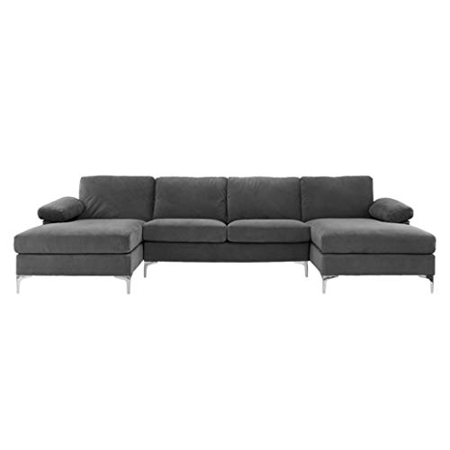 BHDesign Amanda XL – Canapé d'angle PANORAMIQUE Xtra Large 7 Places – Moderne – Velours – Coloris Gris