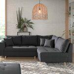 Lisa Design – Rune – canapé d'angle Convertible – avec Pouf – 4 Places – Style scandinave – Droit