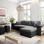 Loungitude – Canapé d'angle convertible avec coffre, 2 poufs et étagère en simili et microfibre – Noir/ gris – 3 + 2 Places