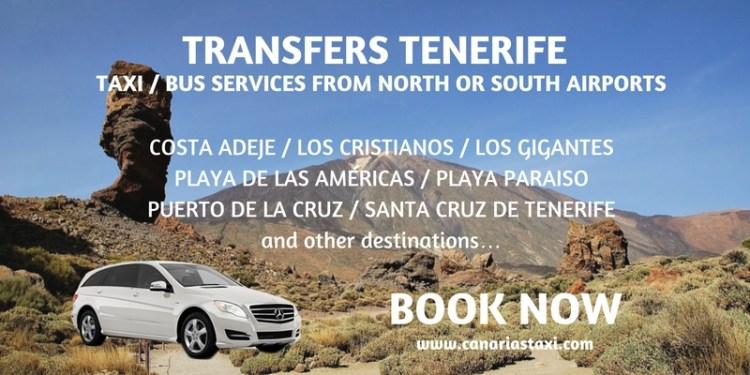 Tenerife Transfers - Taxi Bus Services Airport to Playa de las Americas - Los Cristianos - Costa Adeje - Playa Paraiso - Puerto de la Cruz - Los Gigantes - Santa Cruz de Tenerife