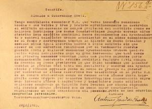 22-2-1925 Texto telegrama parte incendio convento. Fondo Montes de Oca.