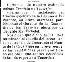 28 07 1904 Terminado el tranvía a Tacoronte