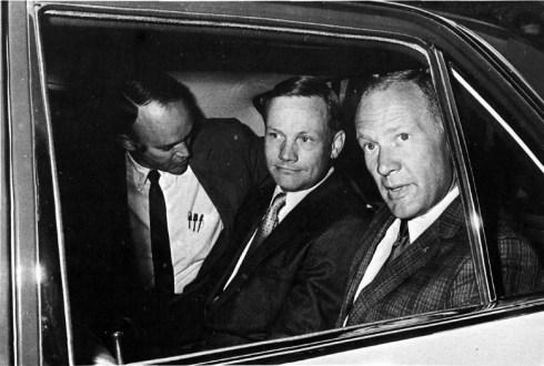 1969 Collins, Armstrong y Aldrin a su llegada al Hotel Maspalomas Oasis