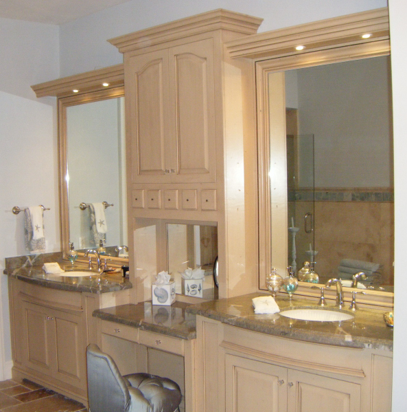 Solid Hardwood Master Bath With His  Her Sinks  Mirrored