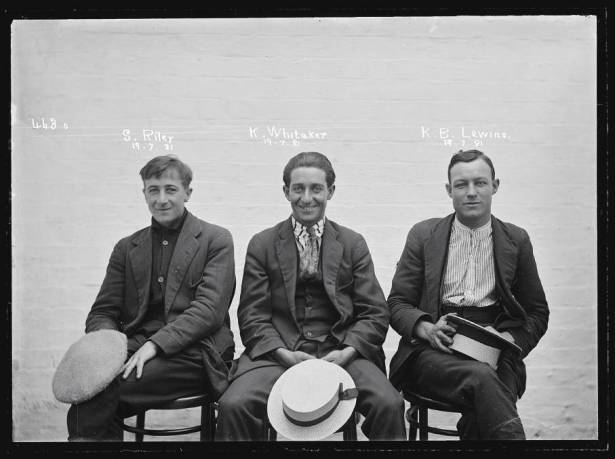S Riley, K Whitaker and KB Lewins - suspects of a break, enter and steal in one of the special photographs taken in 1921. Picture: NSW Police Forensic Photography Archive/ Sydney Living Museums.