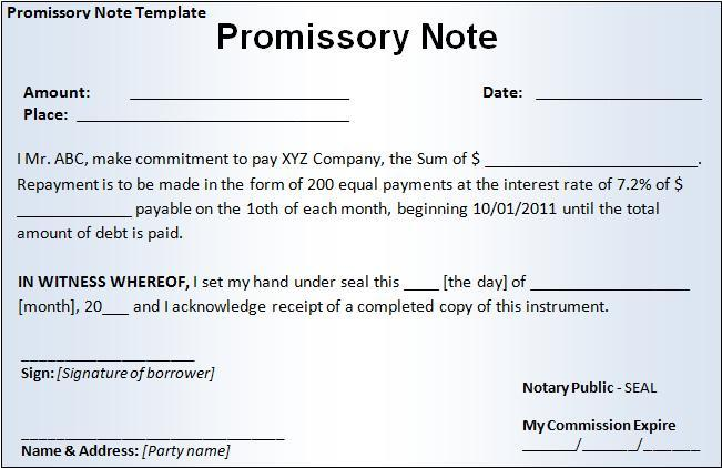 Elegant Little Promissory Note Security Form Of Bank Money Pays Off Debts Form  Examples Of Promissory Note