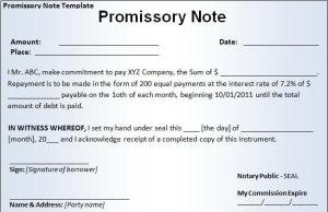 CAP security instrument Promissory Note form of Bank Money Pays Off Debts and loans Form