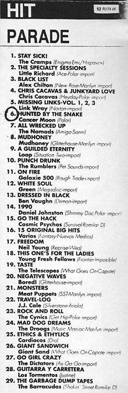 Cancer Moon en el 'Hit parade' de Ruta 66 n.º 50 (abril 1990)