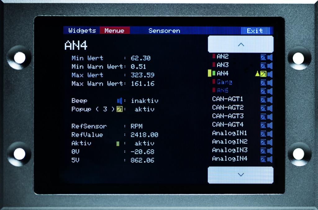 2.8 Display - Sensor Einstellungen